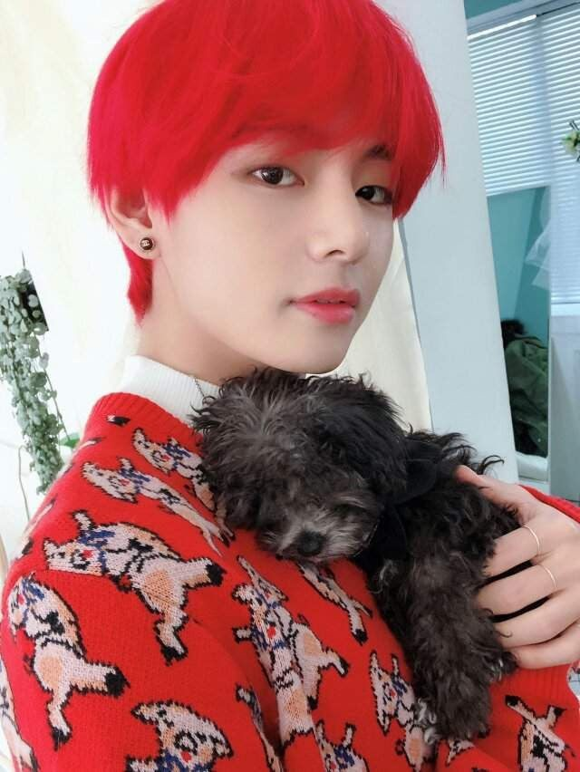 V (BTS) always stands out thanks to Super cute style wearing clothes color  that coincide with color dyed hair 3