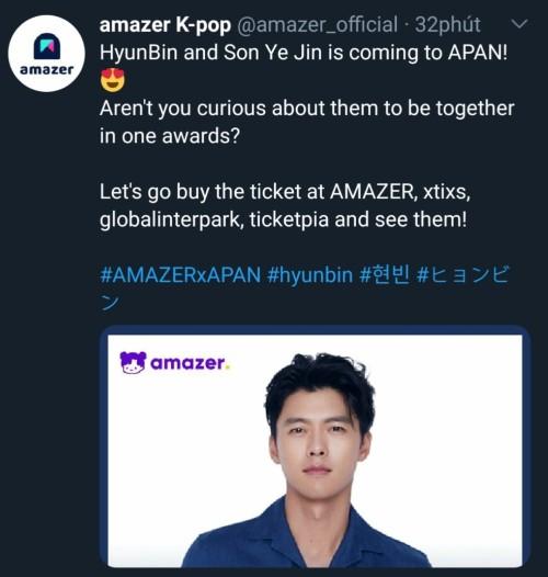 Apan Award 2020 confirms Hyun Bin and Son Ye Jin will participate at the Apan Award on January 23. 2