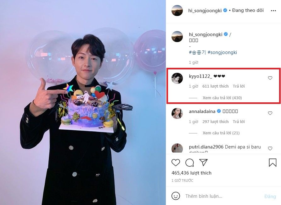 Song Hye Kyo suddenly commented on Song Joong Ki's photo: Song Song Couple Reunite