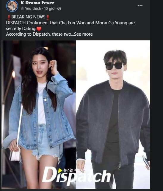 DISPATCH Confirmed  that Cha Eun Woo and Moon Ga Young are secretly Dating.❤