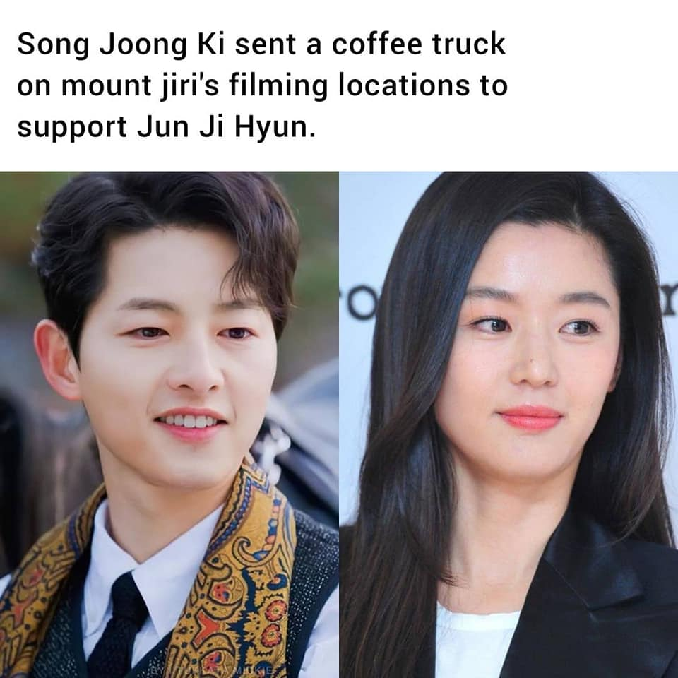 HOT- Song Joong Ki sent a coffee truck support for Jun Ji Hyun to the set of tvN drama 'Mount Jiri'. 1