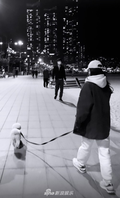 Song Hye Kyo takes her dog Ruby out for a walk to enjoy the spring weather on Wednesday in Busan! 1