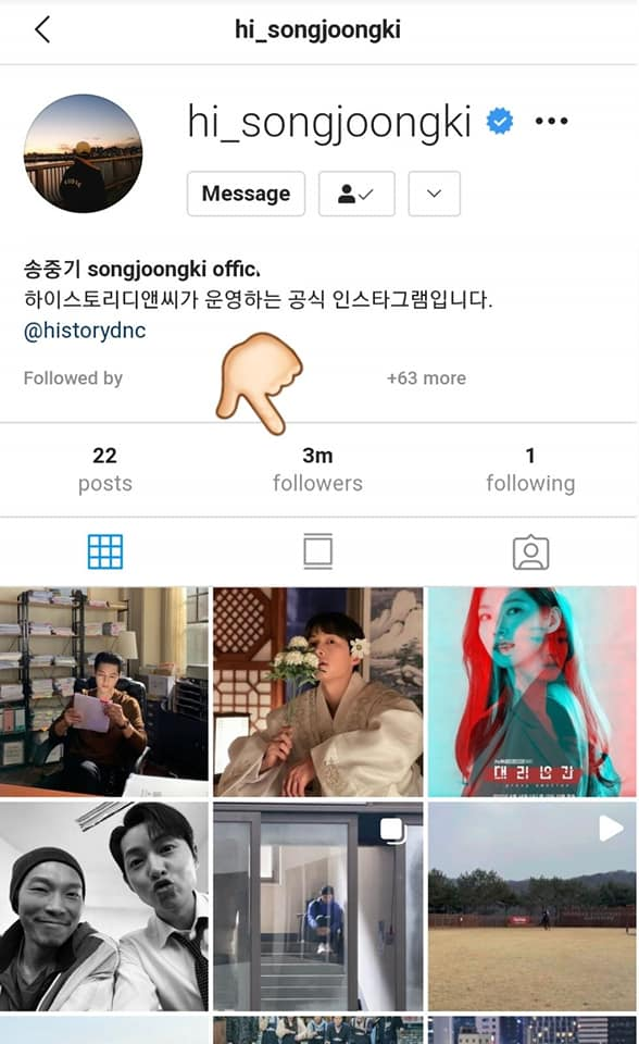 HOT- Song Joong ki Set A New Record When He Surpassed 3 Million Followers On Instagram In Just 3 Months.
