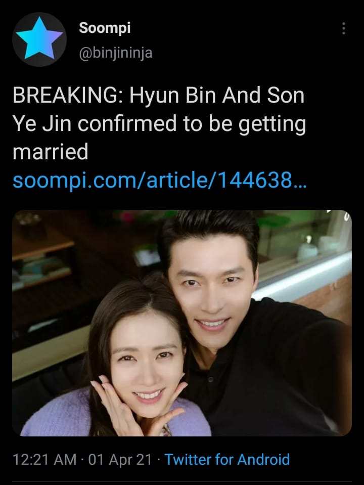"""Soompi """"BREAKING: Hyun Bin And Son Ye Jin confirmed to be getting married"""" and the truth? 1"""
