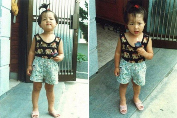 Song Joong Ki in childhood looked quite chubby and pretty.