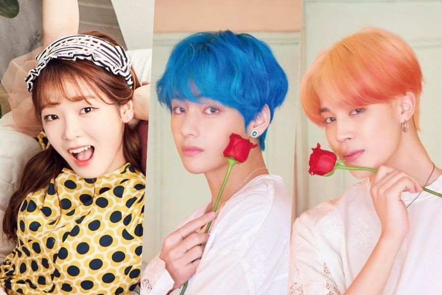 BTS' Jimin , V and OH MY GIRL's Seunghee